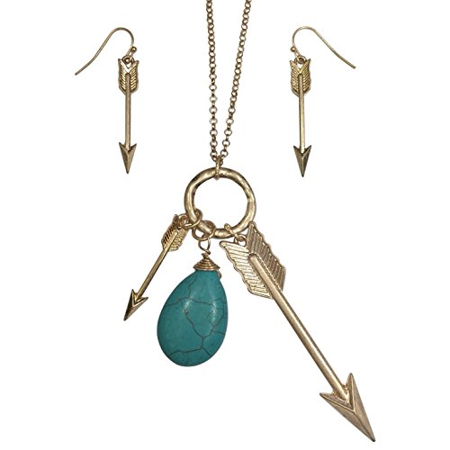 (Arrow Charms Gold Tone with Teardrop Stone Boutique Style Necklace & Earrings Set (Imitation Turquoise))