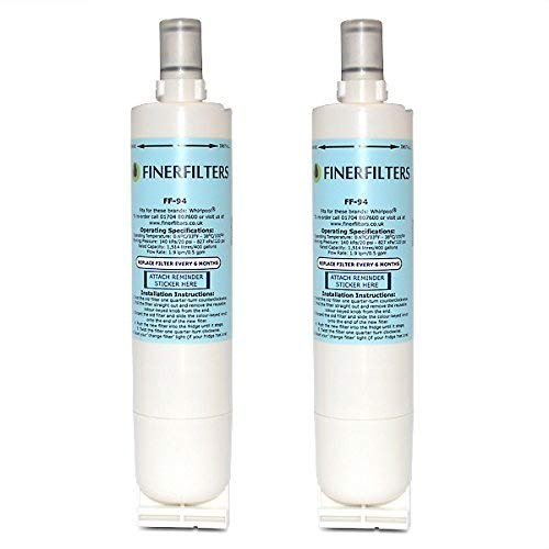 2 x Finerfilters Compatible Fridge Water Filter Cartridge For Whirlpool Fridge, replaces SBS002, S20BRS, 4396508, 481281729632
