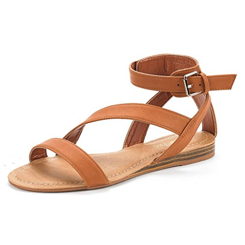 DREAM PAIRS Nora New Women Open Toe Fashion Buckle Crisscross Valcre Ankle Straps Summer Design Flat Sandals Tan Size 8 by DREAM PAIRS