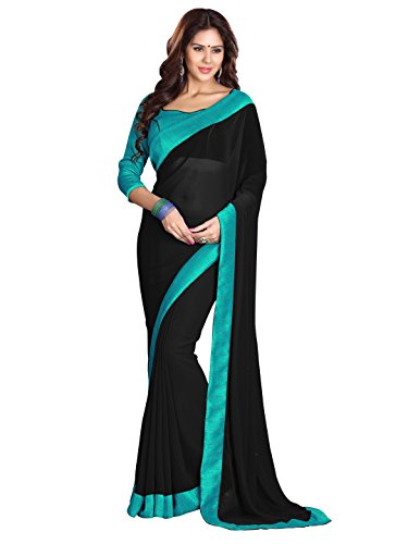 (Sourbh Women's Georgette Plain Indian Saree with Lace Border (6027_Black, Turquoise))