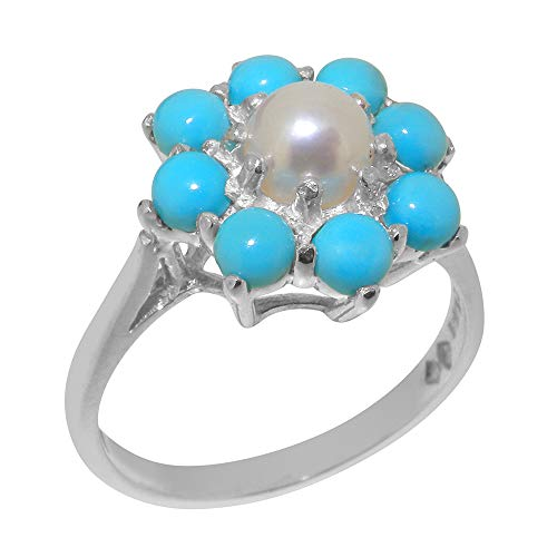Solid 14k White Gold ring with Cultured Pearl & Turquoise Womens Engagement Ring - Size 9.75 ()