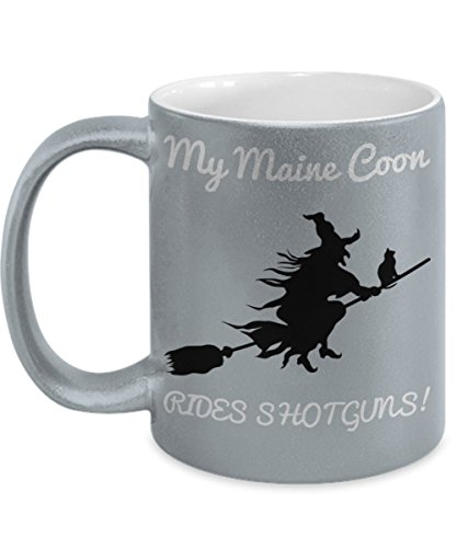 Funny Witch Coffee Mug For Women Maine Coon Holiday Gift Yes I Can Drive a Stick Tea Cup Halloween Gifts For Her -