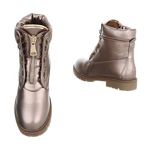 Zapatos para mujer Botas Tacón ancho Botines con cordones Ital-Design Bronze A-16-2