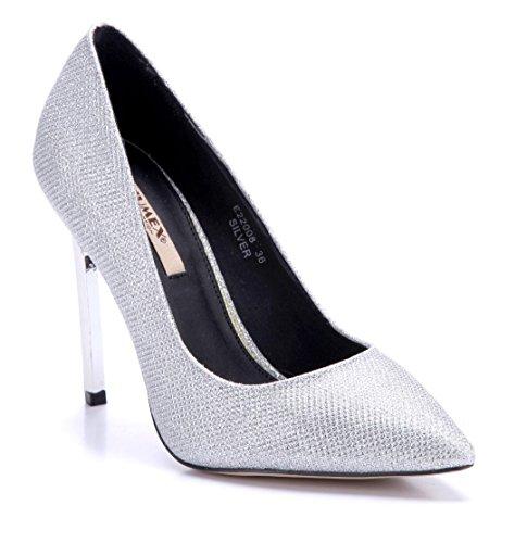 13f8086769ef Schuhtempel24 Damen Schuhe Klassische Pumps Stiletto 11 cm High Heels Silber