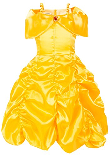 [Girls Dress Layered Princess Costume Dress up dresses B003 (2T (1-2Years), Yellow)] (1 Year Old Fancy Dress Costumes)