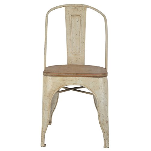 Décor Therapy Set of 2 Metal Chairs with Vintage Wood Seat, Distressed White and Washed Wood ()