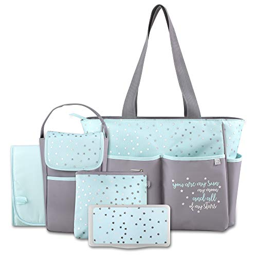 Diaper Bag Tote 5 Piece Set with Sun, Moon, and Stars, Wipes Pocket, Dirty Diaper Pouch, Changing Pad