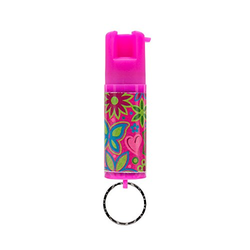 SABRE RED Pepper Spray Keychain for Women - Mini Case with Cute Design, Reinforced Twist Lock Prevents Accidents, Same Maximum Strength Formula Used by Police, 10-Foot (3M) Range with 25 Bursts