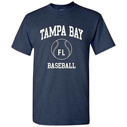 (Tampa Bay Classic Baseball Arch Basic Cotton T-Shirt - 3X-Large - Navy)