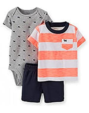 Carter's 3-Piece Striped Tee, Printed Bodysuit and Shorts Set