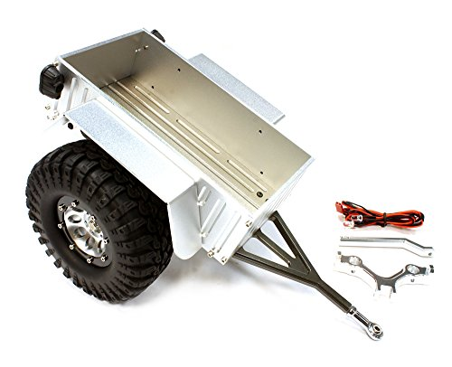 ups C25748SILVER Realistic Complete 1/10 Size Utility Box Trailer for Scale Crawler Truck ()