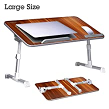 [Large Size] Avantree Adjustable Laptop Bed Table, Portable Standing Desk, Foldable Sofa Breakfast Tray, Notebook Stand Reading Holder for Couch Floor Kids -American Cherry