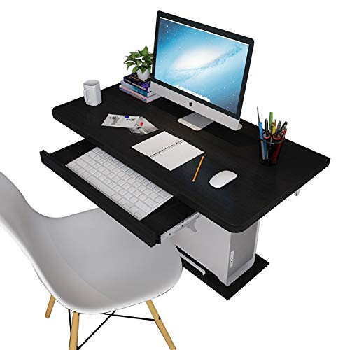 Wall-Mounted Table, Wood-Based Panel Household Wall Hanging Desktop Computer Desk, with Keyboard and Host Tray, Size Optional (Size : 80×40cm)