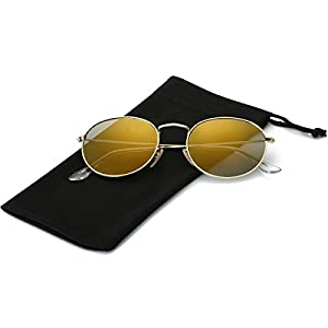 LKEYE Small Unisex Classic Vintage Round Mirror Lens Polarized Sunglasses LK1702 Gold Frame/Gold Lens