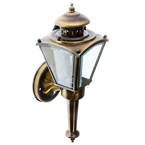 American-De-Rosa FC-6826-11 Outdoor Porch Wall Coach Light Fixture, Solid Antique Brass