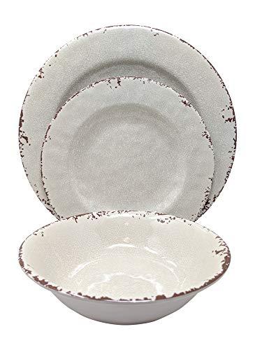 Gianna's Home 12 Piece Rustic Farmhouse Melamine Dinnerware Set, Service for 4 (New Ivory) (Melamine Sets Dinner Online)