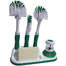 Kitchen Cleaning 6 Piece Set, Including Sponge and Caddy for Scrubbing Dishes, Bottles, Utensils, Sinks, Grout, Peeling and Cleaning Vegetables (Green)