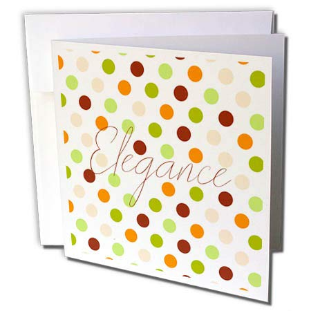 3dRose Alexis Design - Pattern Dot Line Chevron - Polka dot Pattern of Orange, Green, Brown Colors. Text Elegance - 12 Greeting Cards with envelopes (gc_292919_2) (Green Dot Cards)