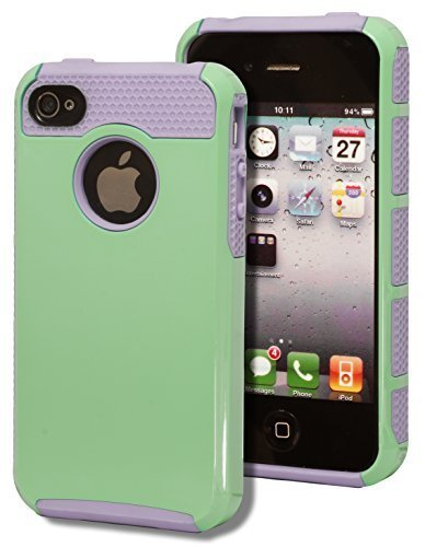 iPhone 4 Case, Bastex Heavy Duty Two Piece Hybrid Lavender Silicone Teal Green Case Cover for Apple iPhone 4, 4g, 4s 4gsINCLUDES SCREEN PROTECTOR AND STYLUS
