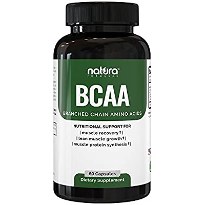 Natura BCAA Capsules - Natural Branched Chain Amino Acids - Pre Workout Dietary Supplement for Men and Women - Pure BCAAs for Recovery, Weight Loss, Build Lean and Burn Muscle.