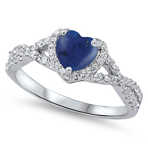 925 Sterling Silver Cabochon Natural Genuine Blue Lapis Heart Halo Promise Ring Size 7