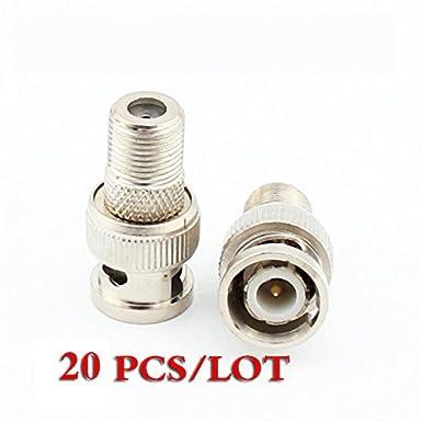 F Tipo hembra a BNC macho Coaxial RF Jack adaptador de conector CCTV RG6 RG59