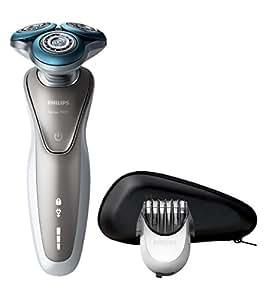 Philips S7510/41 - Afeitadora eléctrica, uso en seco y húmedo, con funda y perfilador de barba SmartClick, color plata