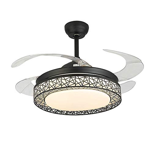 (XHMCDZ Modern 42'' Crystal Chandelier Ceiling Fan for Living Room Bedroom with LED Light Kit and Remote Control Invisible Ceiling Fan Light,Retractable Blades LED Ceiling Lights Three Color Changing)