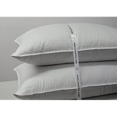Royal Hotel's Goose Down Pillow - 500 Thread Count Egyptian Cotton , King Size, Firm, Set of 2