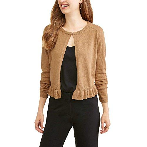 Heart-n-Crush Women's Ruffle Hem Open Front Neck Button Cardigan Sweater (XL, Perfect Camel) (Ruffle Neck Cardigan)