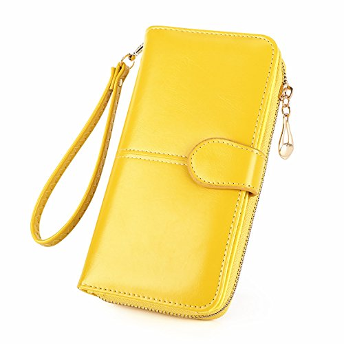 trap RFID Blocking Large Capacity Luxry Waxed Leather Clutch Case Bifold Multi Card Organizer - Laimi Duo (Yellow) (Leather Multi Currency Passport Case)