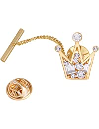 Men's Crystal Crown Necktie Tie Tack Pin Shirt Stay Bar Collar Lapel Pin with Chain