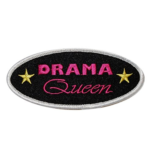 (Drama Queen Name Tag Patch Novelty Badge Symbol Embroidered Iron On Applique)
