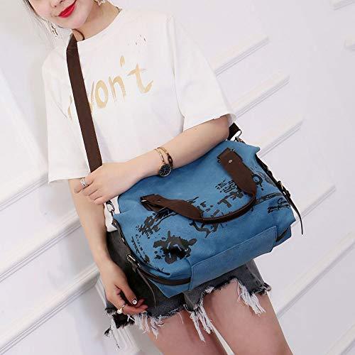 simple capacidad gran libr hombro elegante único Tamaño bolso de bolso mano violeta Behavetw Azul bolso y para mano estilo Hobo lona bandolera asa Bolso con de de de multifunción lavable mujer z4xwCRzvq