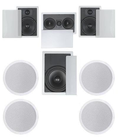 7.1 Home Theater Flush Inwall/Ceiling Speaker Package  Two Inwall 6.5u0026quot;  2