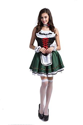 Deluxe Beer Wench Costume (Deluxe German Oktoberfest Cute Beer Girl Halloween Costume)