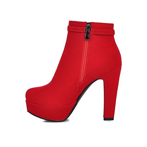 Frosted Boots Toe Heels Red Low Solid High Allhqfashion Women's Round top Closed ZqfwnOYv