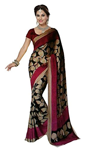 Ishin Bhagalpuri Art Silk Women's Saree,Black & Pink 6.3 Meter
