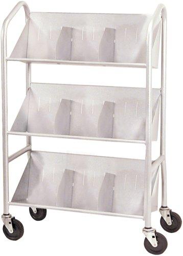 Buddy Products 54143 Sloped-Shelf Book Cart, Three Shelves, 26w x 16d x 41-1/2h, Gray ()