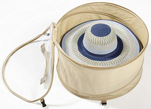 (TIURE Large Hat Pop Up Bag Storage and Travel Box for Big Round Hats and Caps Expands to Required Size Keeps Out Dust and Dirt, 19 inches Diameter (Large) )