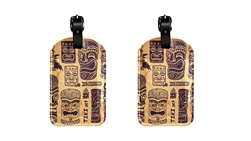 PU Leather Luggage Tags with Vintage Aloha Tiki Set Print Name ID Labels for Travel Bag Baggage Suitcase with Back Privacy Cover 2 pack