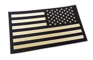 Reversed Black and Tan INFRARED REFLECTIVE USA Flag Military Patch (EMPIRE TACTICAL - USA)