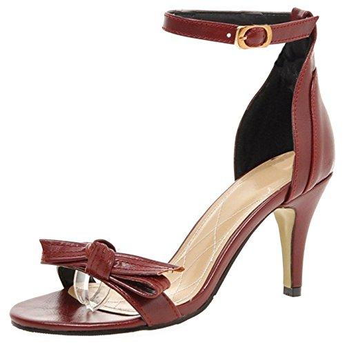 TAOFFEN Femmes Mode Aiguille Sandalias Talons Hauts Bout Ouvert Sangle De Cheville Zapatos De Bowknot Rojo
