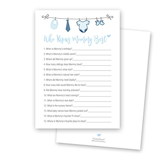 24 cnt Who Knows Mommy Best - Baby Boy Clothesline Baby Shower Game