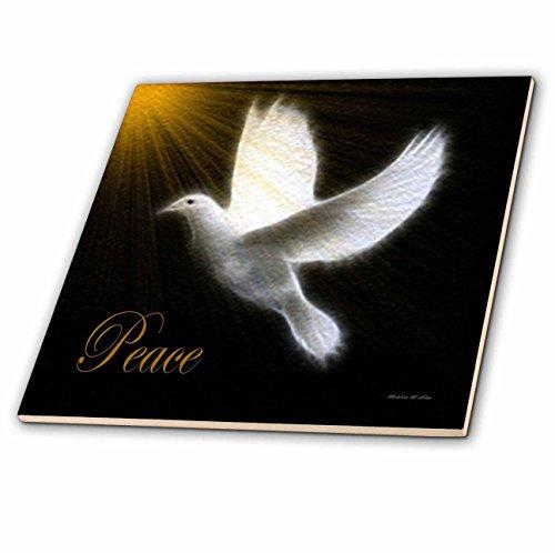 3dRose ct_6580_3 Peace Dove-Black/White/Gold Bird Art-Ceramic Tile, 8-Inch by 3dRose