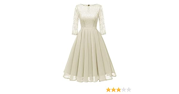 Amazon.com  Dresses for Women Vintage Scoop Neck Floral Lace 3 4 Sleeve  A-line Pleated Wing Cocktail Dress  Clothing 4ca389434eff