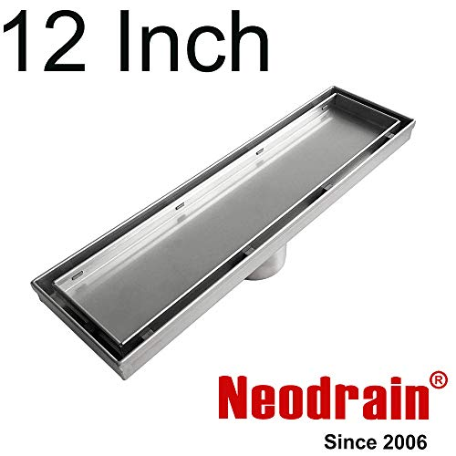 Neodrain 12-Inch Linear Shower Drain With 2-in-1 Flat & Tile insert Cover,Brushed 304 Stainless Steel Rectangle Shower Floor Drain,Floor Shower Drain With Hair Strainer