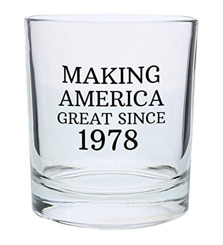 40th Birthday Gifts for Dad Mom Making America Great Since 1978 Republican Conservative 40th Birthday Party Supplies Gift Lowball Glasses 2-Pack Round Lowball Tumbler Set Black by ThisWear (Image #2)