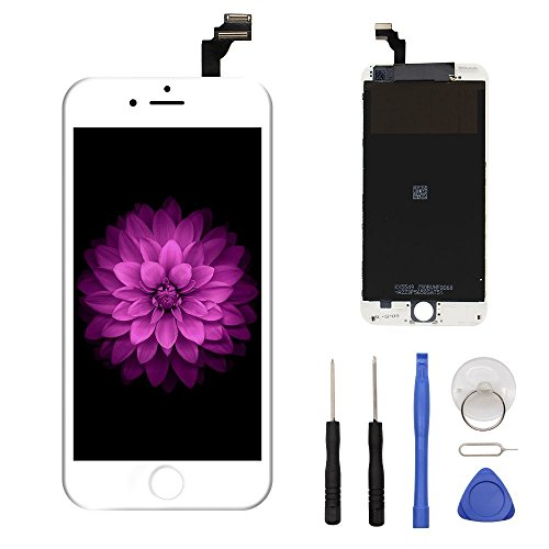 LCD Display & Touch Screen Digitizer Replacement Full Assembly for iPhone 6 (4.7 inch) With Free Tools Kit (White) (Screen Full 6 Replacement Iphone)