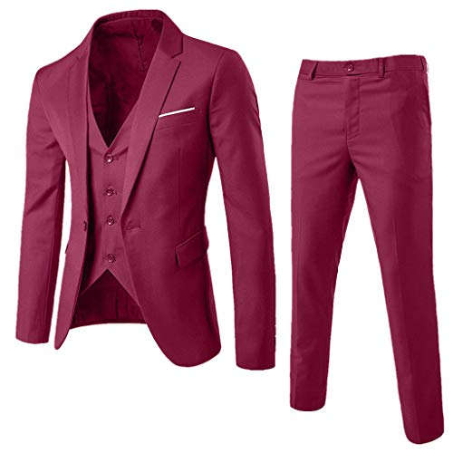 IAMUP Men's Fashion Suit Slim 25-Piece Suit Blazer Business Korean Wedding Party Suitable Jacket Vest & Pants Wine Red